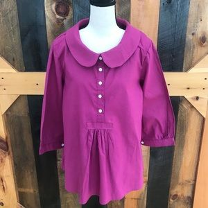MISSLOOK button front round collar blouse,size L